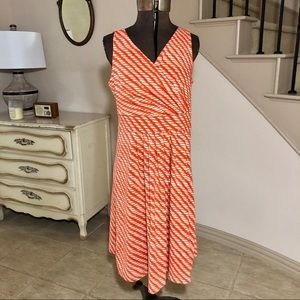 Lands End Orange Surplice Sleeveless Dress